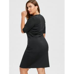 V Neck Plus Size Sheath Dress with Slit - BLACK 7XL