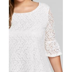 Plus Size Bell  Sleeve Lace Dress - WHITE 3XL