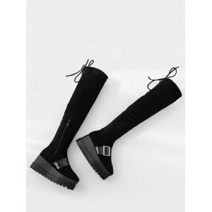 Square Toe Buckle Strap Thigh High Boots - BLACK 34