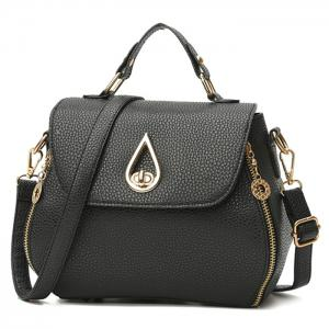 Metal Embellished Faux Leather Handbag -