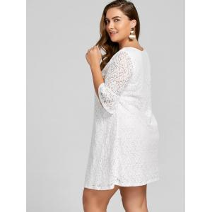 Plus Size Bell  Sleeve Lace Dress -