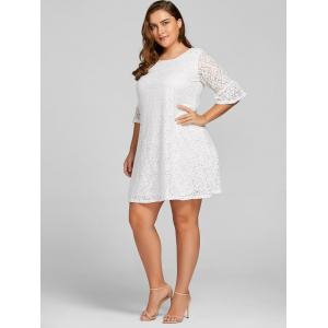 Plus Size Bell  Sleeve Lace Dress - WHITE 7XL