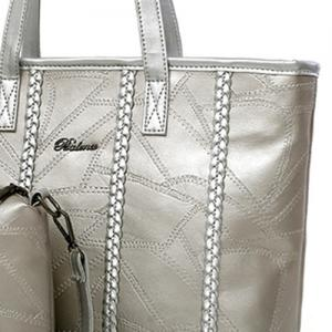 Braid 3 Pieces Quilted Handbag Set - SILVER