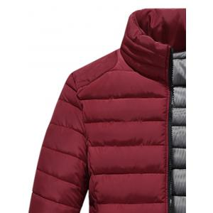 Zip Up Stand Collar Wadded Jacket - WINE RED 5XL