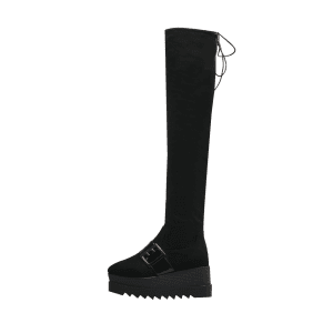 Square Toe Buckle Strap Thigh High Boots - BLACK 38
