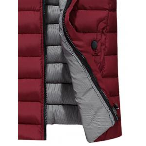 Zip Up Stand Collar Wadded Jacket - WINE RED 3XL
