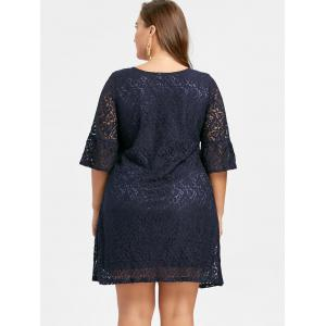 Plus Size Bell  Sleeve Lace Dress - DEEP BLUE 3XL