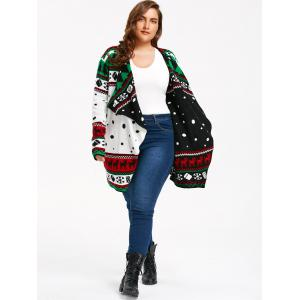 Christmas Element Plus Size Tunic Draped Cardigan -