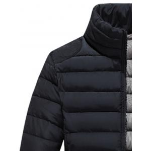Zip Up Stand Collar Wadded Jacket - BLACK 3XL
