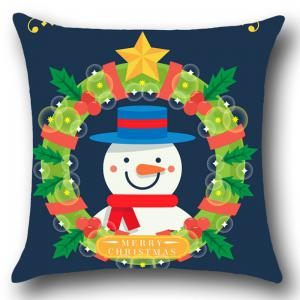 Christmas Garland Snowman Patterned Throw Pillow Case - BLUE AND GREEN W18 INCH * L18 INCH