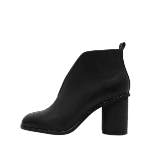 PU Leather Chunky Heel Curve Boots - BLACK 35