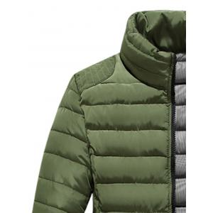 Zip Up Stand Collar Wadded Jacket - ARMY GREEN 4XL