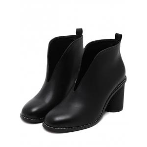 PU Leather Chunky Heel Curve Boots - BLACK 38