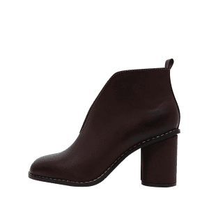 PU Leather Chunky Heel Curve Boots - WINE RED 35