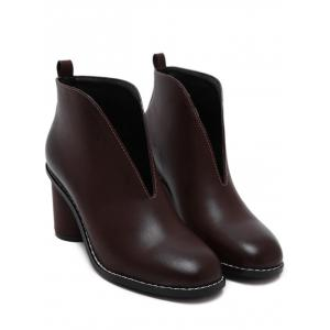 PU Leather Chunky Heel Curve Boots - WINE RED 36