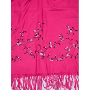 Vintage Floral Embroidery Faux Wool Long Scarf -