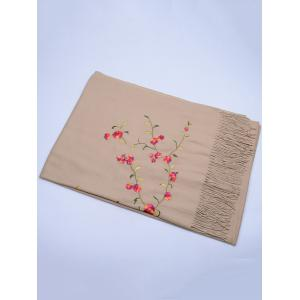 Vintage Floral Embroidery Faux Wool Long Scarf - KHAKI