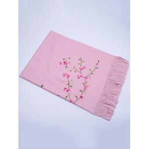 Vintage Floral Embroidery Faux Wool Long Scarf - PINK