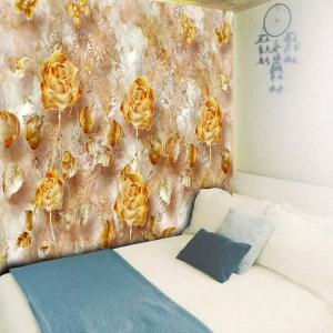 Rose Print Wall Decor Flower Tapestry - GOLDEN W79 INCH * L59 INCH