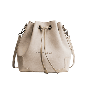 Letter Canvas Drawstring Crossbody Bag - KHAKI