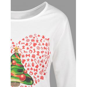 Christmas Tree Heart Plus Size High Low Tee - WHITE 3XL