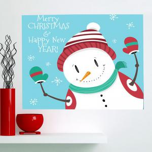 Happy Christmas Snowman Printed Multifunction Wall Art Painting - BLUE AND WHITE 1PC:24*24 INCH( NO FRAME )