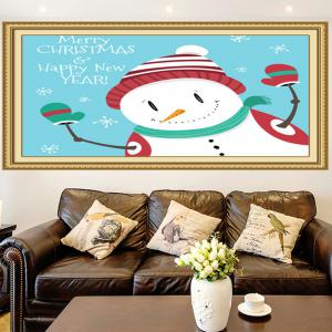 Happy Christmas Snowman Printed Multifunction Wall Art Painting - BLUE AND WHITE 1PC:24*35 INCH( NO FRAME )