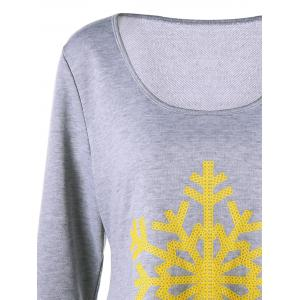 Plus Size Asymmetric Christmas Snowflake Long Sleeve T-shirt -