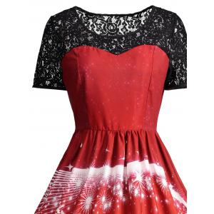 Ugly Christmas Party Lace Trim Vintage Dress - RED L