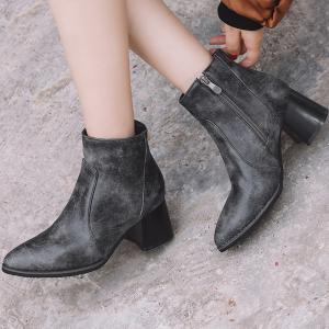 Chunky Heel Detachable Pendant Ankle Boots -