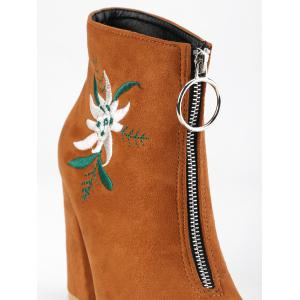 Chunky Heel Embroidery Pointed Toe Boots -