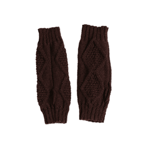 Rhombus Stripe Crochet Knitted Exposed Finger Gloves -