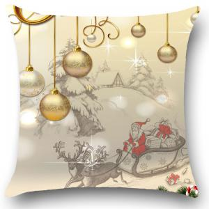 Christmas Balls Pattern Linen Throw Pillow Case -