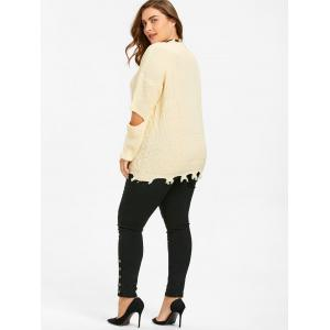 Elbow Cut Out Plus Size Knit Sweater -