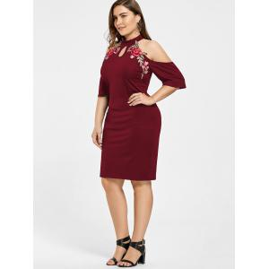 Plus Size Embroidered Cold Shoulder Keyhole Dress - WINE RED 4XL