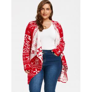 Christmas Element Plus Size Draped Cardigan - RED 3XL