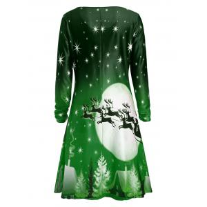 Christmas Deer Long Sleeve Tee Dress - GREEN 2XL