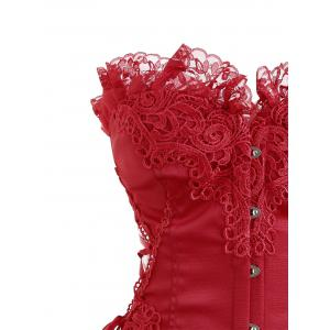 Christmas Lace Hem Steel Boned Corset -