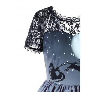 Christmas Sheer Lace Yoke 50s Swing Dress -