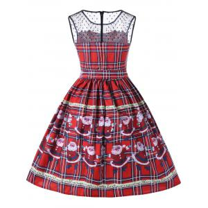 Christmas Santa Claus Plaid Sheer Swing Dress -