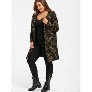 Plus Size Camouflage Flap Pockets Hooded Coat -