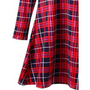 Plus Size Christmas Elk Print Plaid Mini Skater Dress -