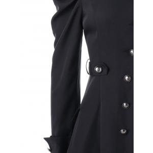 Puff Shoulder Single Breasted Dip Hem Trench Coat -