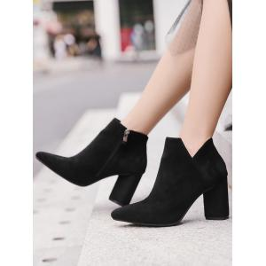 Block Heel Pointed Toe Boots -