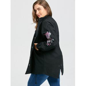 Plus Size High Low Patches Embroidered Coat -