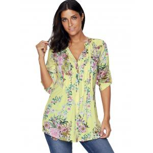 Pleated V Neck Floral Blouse -
