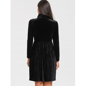Long Sleeve Turtleneck Mini Velvet Pleated Dress -