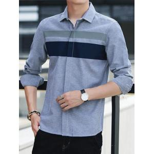 Covered Button Long Sleeve Striped Shirt -