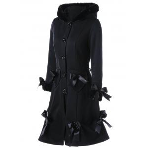 Hooded Bowknot Heart Pocket Long Lace-up Coat -