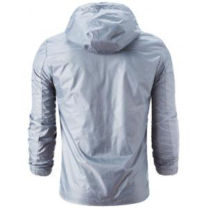 Zipper Up Drawstring Hooded Windbreaker Jacket -